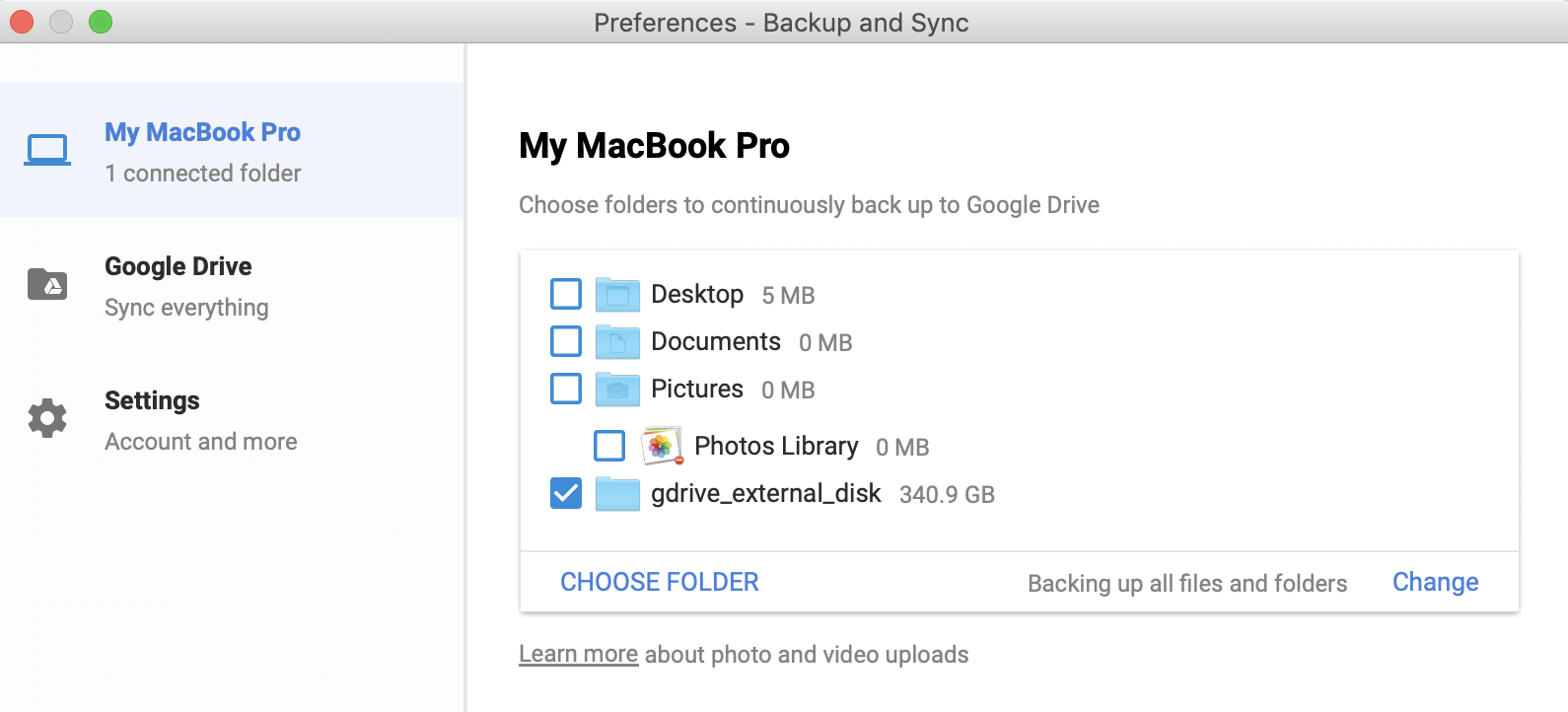 Upload photos from external drive to google